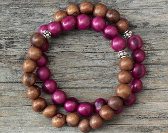 Plum Brown Boho Stacking Bracelet / Berry Fuchsia Chocolate Beadwork in Sterling Silver, Colorful Radiant Orchid Inspired Acai Seed / Tribal