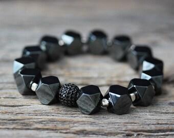 Pave Hematite Bracelet in Karen Hill Tribe Silver / Beaded Beadwork Bracelet / Dark Storm Metallic Grey, Black CZ Shiny Party Jewelry Modern