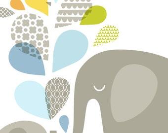 "20X24"" elephant mommy & baby portrait format giclee print on fine art paper. light blue, soft orange, sage green, gray."