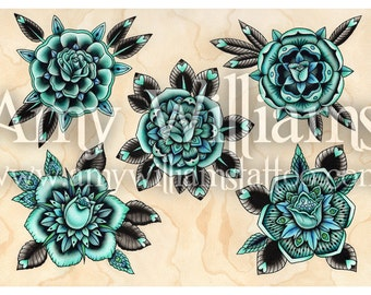 Turquoise Roses Tattoo Art A3 Print
