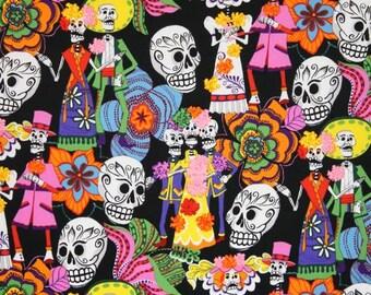 Alexander Henry Los Novios fabric 1/2 yard cut - black background