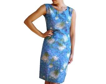 MONET French Vintage 50s Water Color Motifs Blue Dress