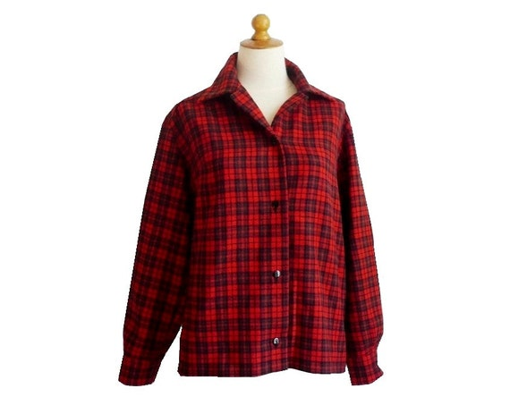 French Vintage  60s Red Plaid Blouse