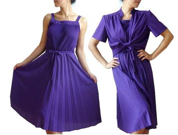 MADO French Vinatge 70s Stripes Pleated Dress with Bolero
