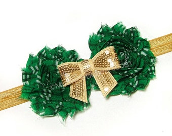 Green Tartan Headband, Irish Girl, Gold Bow Headband, Emerald Green Tartan Headband, Irish Princess, Children Holiday