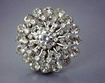 Vintage Rhinestone Brooch, Large, 1950s Bridal Wedding Jewelry, Bridal Bouquet Brooch, Spoke Sputnik, Something Old