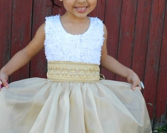 White and Gold Flower Girl Dress for Little Girl