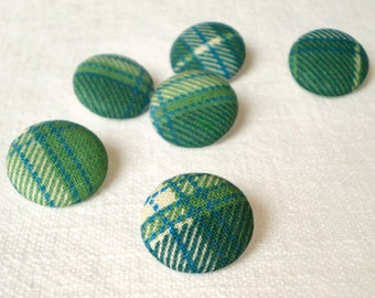 Fabric Buttons - Scottish Tartan - 6 Small Or 6 Medium Green, Blue and Beige Plaid Fabric Covered Buttons