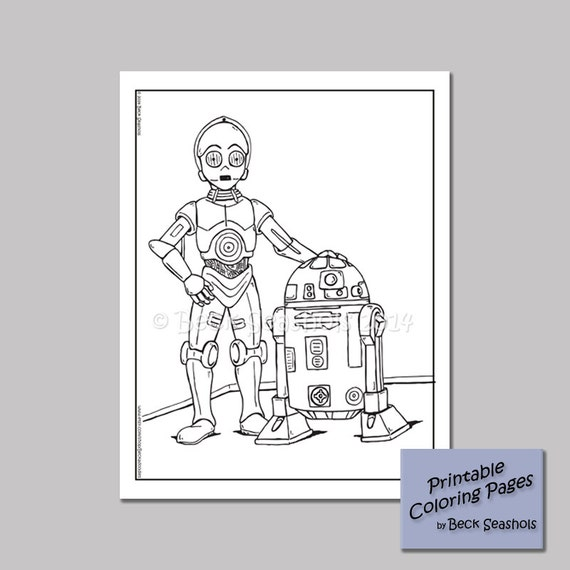 Star Wars Droids Printable Coloring Page by Beckadoodles
