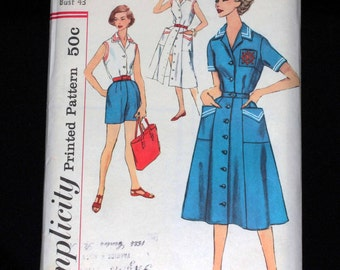 1950's simplicity pattern half size slenderette nautical dress and summer shorts set, size 22 1/2 UNCUT shipping incl within Canada & U.S.A