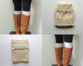 2 Patterns - Grace Cable Boot Cuffs Knitting Pattern & Basic Boot Cuffs Knitting Pattern / Digital PDF Knitting Patterns
