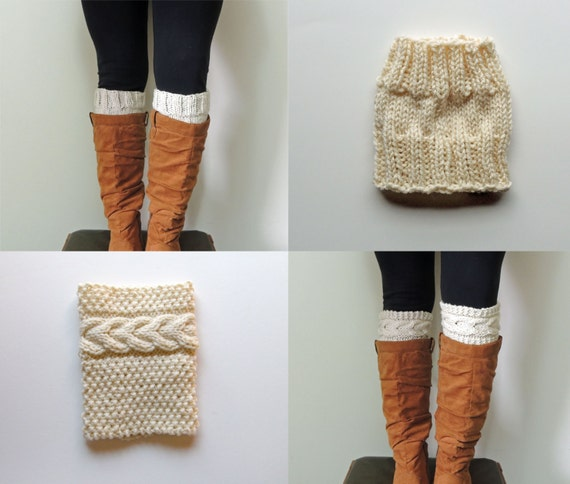 2 Patterns Grace Cable Boot Cuffs Knitting Pattern by LewisKnits