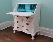 Custom Order Shabby Chic Secretary Desk White Aqua Distressed Antique Country Cottage Beach Coastal Prairie