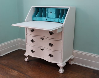 Custom Order Shabby Chic Secretary Desk White Aqua Distressed Antique Country Cottage Beach Coastal Prairie