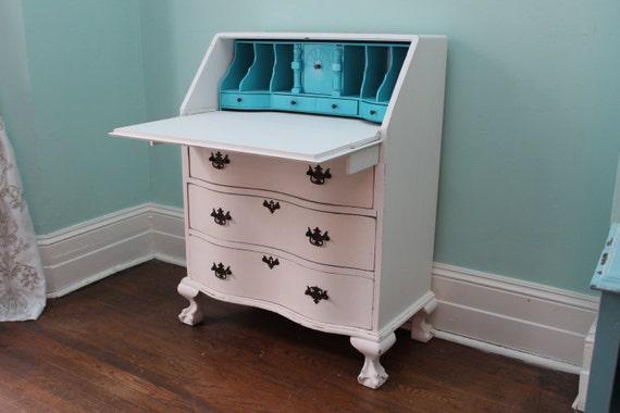 Like this item? - Custom Order Shabby Chic Secretary Desk White Aqua Distressed