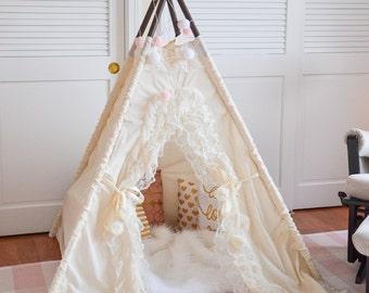 teepee, kids teepee, childrens teepee, teepee tent, lace teepee - BIANCA