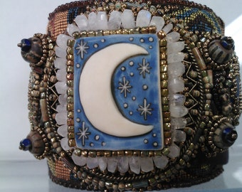 Moonlight Madness bead embroidered Cuff - Laura Mears Porcelain