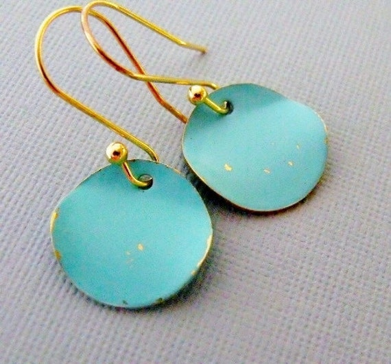 Turquoise Earrings, Gold Dangling Coin Earrings, Turquoise Jewelry