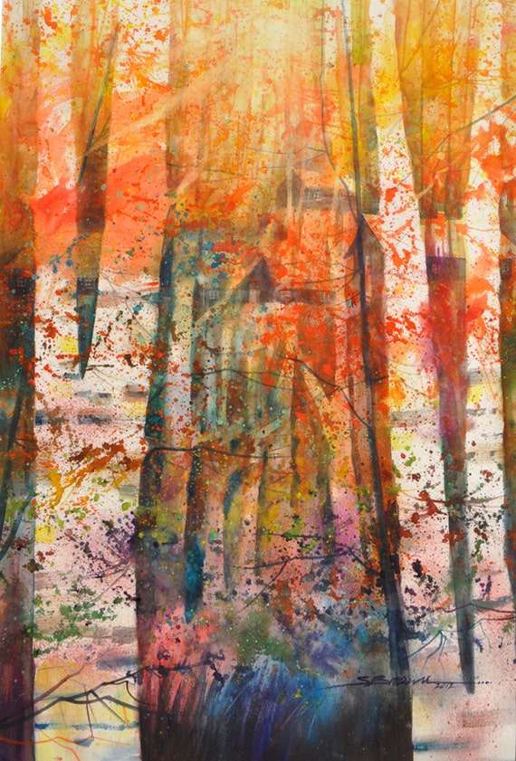 Hidden Cabins Watercolor Print Watercolor Art By Sbrownart