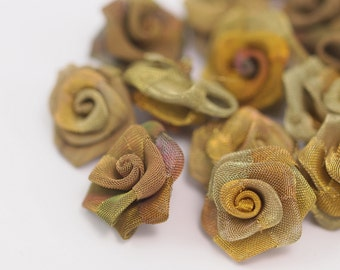 Brass Rose Charm, 5 Raw Brass Wire Mesh Folded Rose Sculpture 20mm  D020--C044