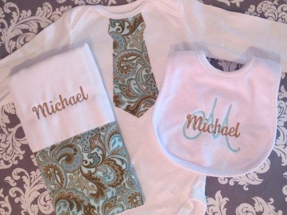 3 piece baby boy gift set, 1 Just Like Daddy Tie Onesie, 1 Personalized Matching Burp Cloth, 1 Personalized Matching Bib.  Custom made.
