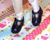 Blythe Black with Silver Glitter T-strap Mary Jane shoes