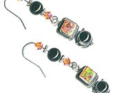 lab opal earrings salmon brick red double cabochon black onyx sterling silver