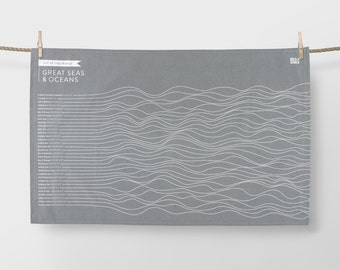 Out of this World, Great Seas and Oceans Tea Towel, Ocean Tea Towel, Grey Tea Towel, Grey Dishcloth, Grey Kitchen Towel, Waves Tea Towel
