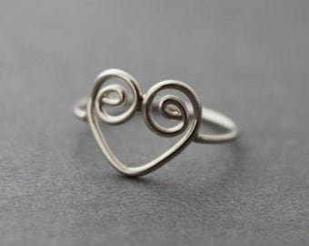 Heart ring, Sterling silver spiral heart, size 8 US CANADA