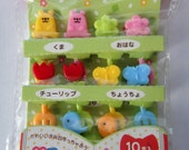 Cute Bears, Flowers, Tulips, Butterflies, Birds Japanese Bento Picks / Cupcake Toppers - Set Of 10