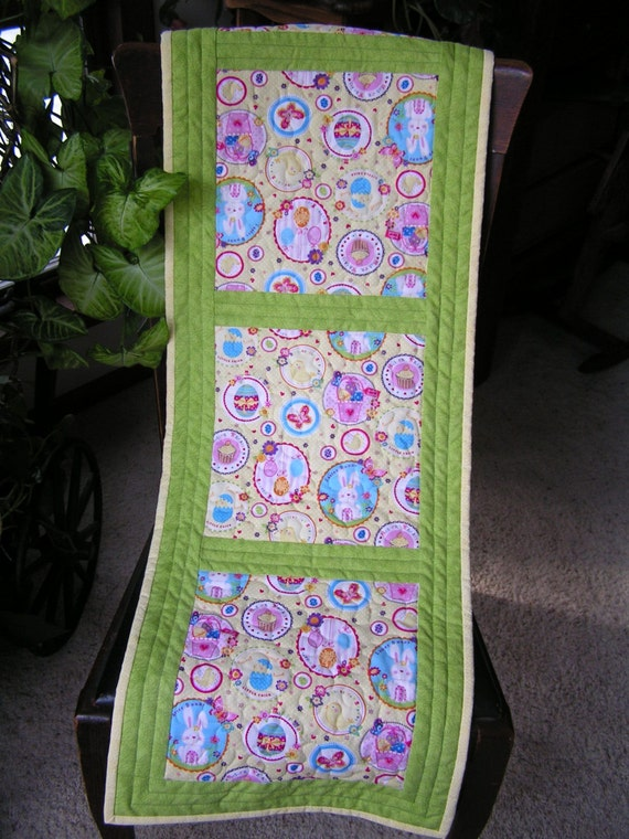 Easter table runners easter wikii quilted easter chicks eggs table runner reverses to spring and summer fruit blossoms this cute medium sized easter table runner measures 14 x 46 and negle Images