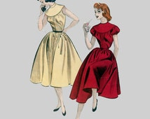 1950 Dress pattern Vintage Simplicity 6844 Sewing Pattern Puff sleeve or sleeveless A line skirt Tiny skirt gathers Size 10 Bust 28 inches