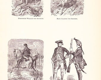 1898 World History Print - Fashion of Frederick the Great - Vintage Antique Art Print American History Great for Framing 100 Years Old