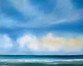 "Beach ocean painting ""Sky and Surf"" 18x18 oil—teal, turquoise blue, aqua, white yellow—contemporary seascape"