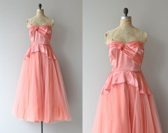 Billet-doux dress | vintage 1940s formal dress • 1950s tulle party dress