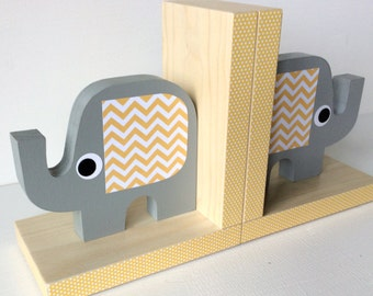 Elephant Bookends, Elephant Nursery, Elephant Kids Decor, Elephant Nursery Decor, Yellow and Gray,  eco-friendly