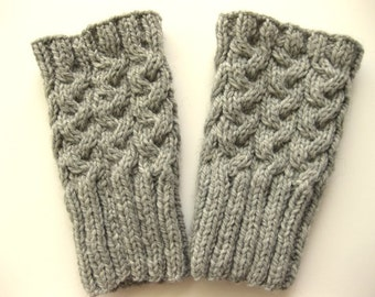 Light Grey Boot Toppers, Knit Boot Cuffs, Knitted Boot Socks, Knit Leg Warmers, Cables, Pure Wool,  Ready To Ship