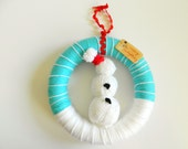 SALE Snowman Merry Everything Holiday Yarn Wreath Snow Winter Christmas Decoration