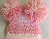 Sale sale  Crocheted baby hat with pompoms pink