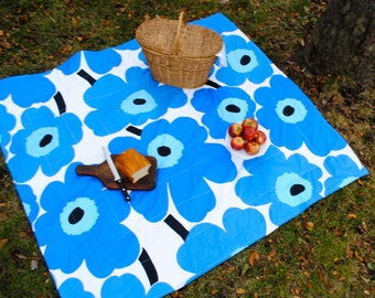 Picnic Blanket - Blue Marimekko Giant Flowers - Modern Summer Picnic Blanket - Outdoors Food Blanket - Statement Gift