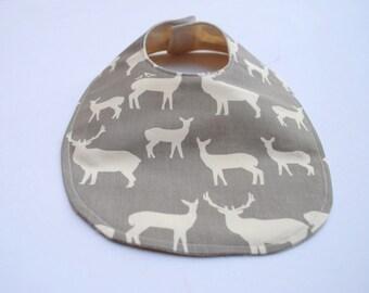 Deer Baby Bib- ORGANIC Bib- Modern Baby- White Antlers on Gray