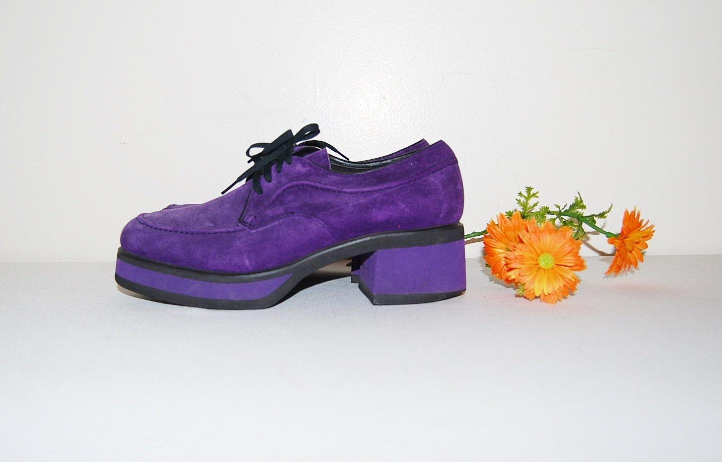 vintage shoes purple platform boyfriend oxford
