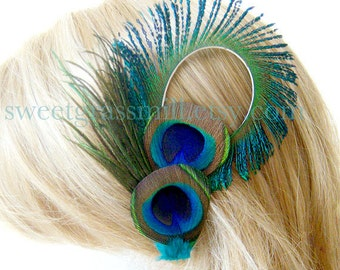 Peacock Fascinator - CONTESSA Clip - Peacock Feather Clip