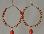 Red Wire Wrapped Fulani Earrings