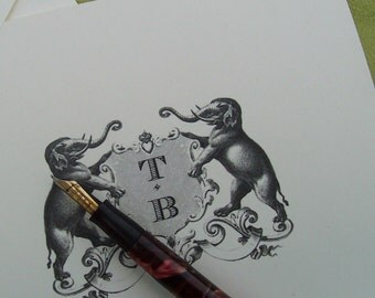 Elephant Heraldic Crest Personalized Note Cards Monogrammed Stationery Stationary Set 10 Asian Elephant  English Heraldic Family Crest