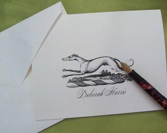 Personalized Greyhound ,Whippet, Italian Greyhound, Dog Monogrammed 10 Handmade Stationery Sighthound Lurcher Vintage Inspired Note Cards