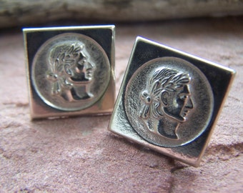 Vintage Button Back Cufflinks 3 pair Wedding Suite of 3 matching Cuff links Pairs, 1950s Silver Roman Profile