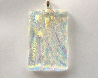 Crystalline Waves clear dichroic glass rectangle pendant - yellow orange blue fused glass