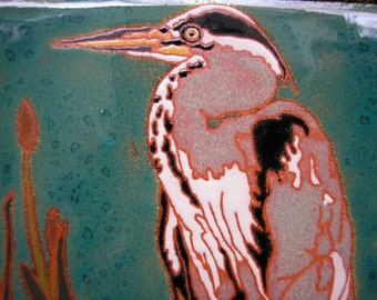 Great Blue Heron, AVAILABLE NOW , tile with rich detail in the arts and crafts style, great for bird lovers