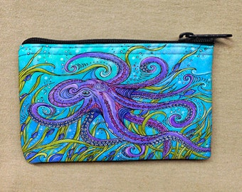 Coin Purse, Change Purse, Coin Bag, Purple Octopus